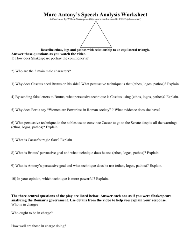 mark antony speech analysis