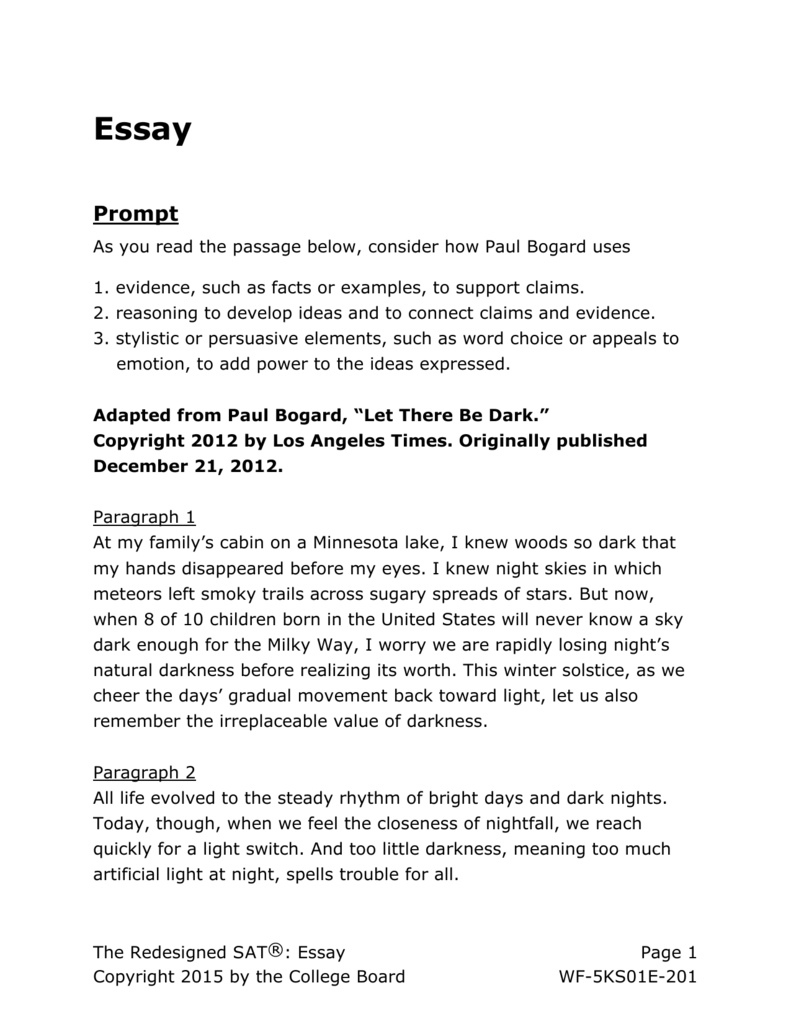 SAT Practice Essay 1 for Assistive Technology