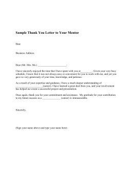 Sample Thank You Letter to Your Mentor