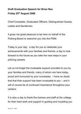 Chairman`s Graduation Speech - Northern Ireland Policing Board