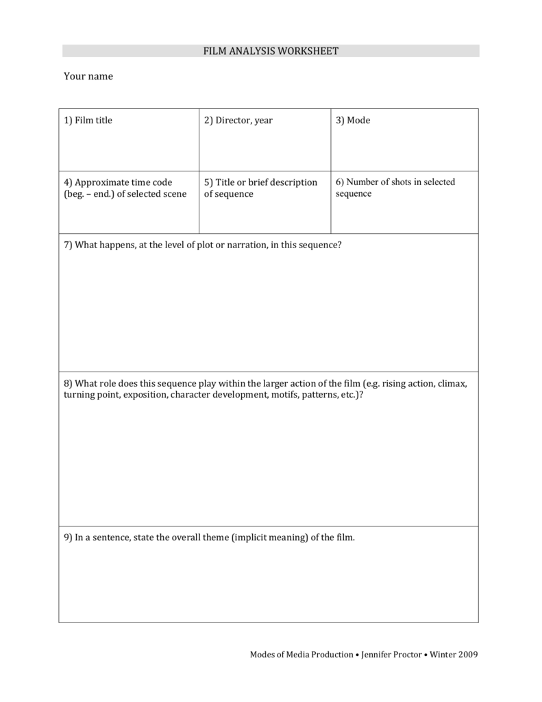 Film Analysis Worksheet