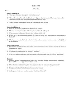 Macbeth Online Discussion Question Possibilities: