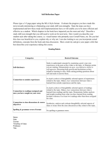 Self Reflection Paper