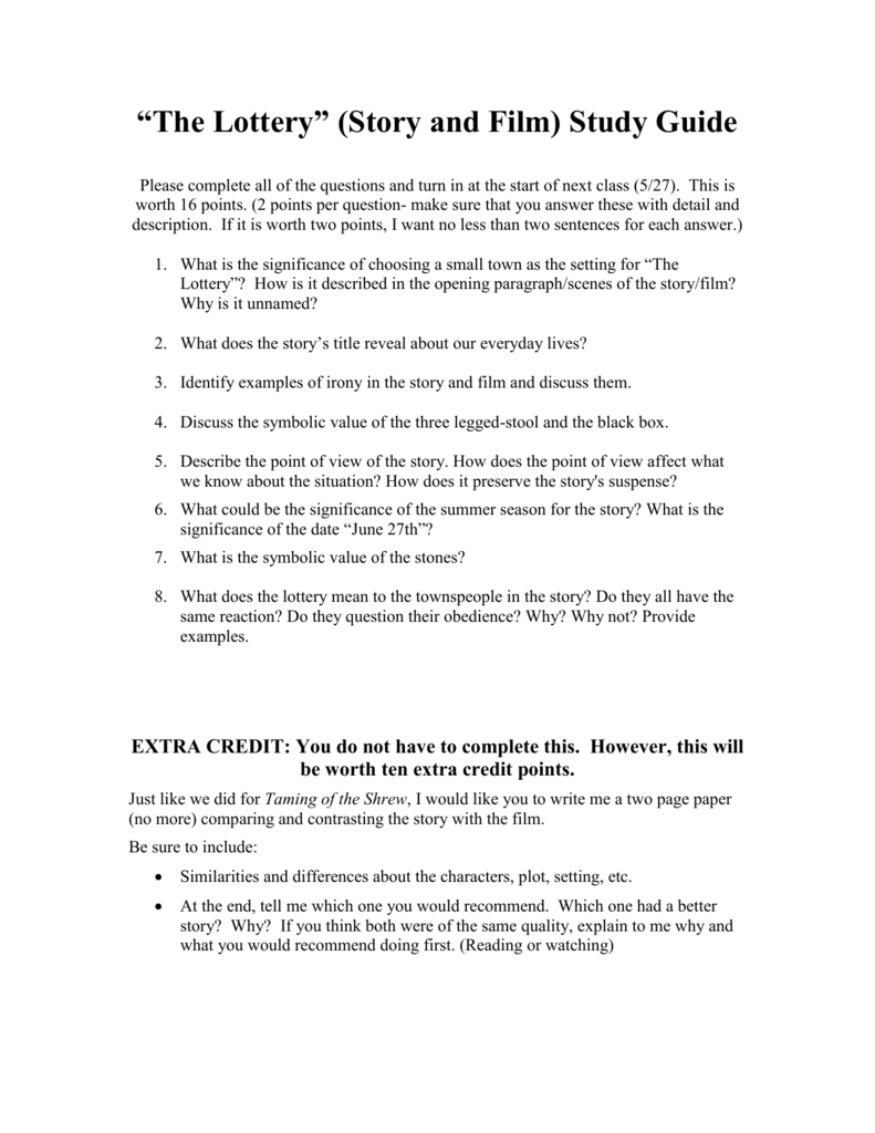 The Lottery Story And Film Study Guide