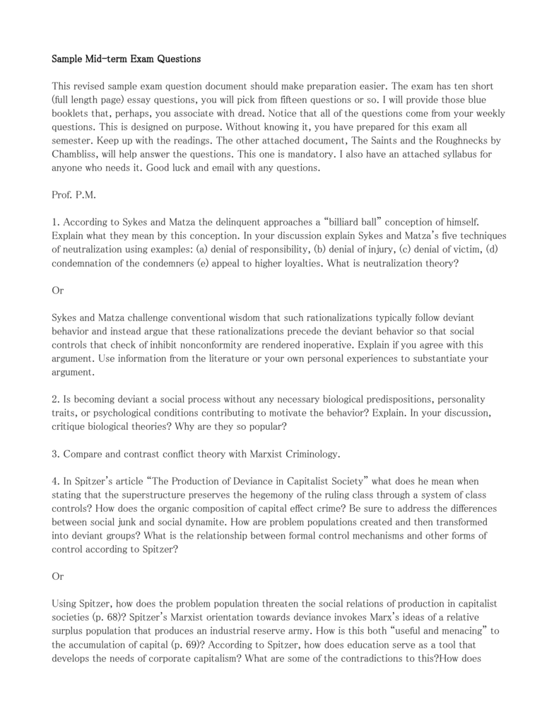 Midterm Exam Social Deviance Sample Questi
