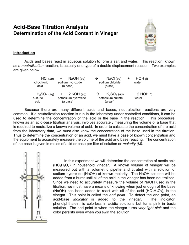 titration of acids and bases lab report In lab reports the lab report below was submitted as part of the coursework for cm1101 basic physical chemistry please do not plagiarise acid-base titrations can be conducted using the above samples against standardized aqueous naoh and standardized aqueous hcl solutions respectively.