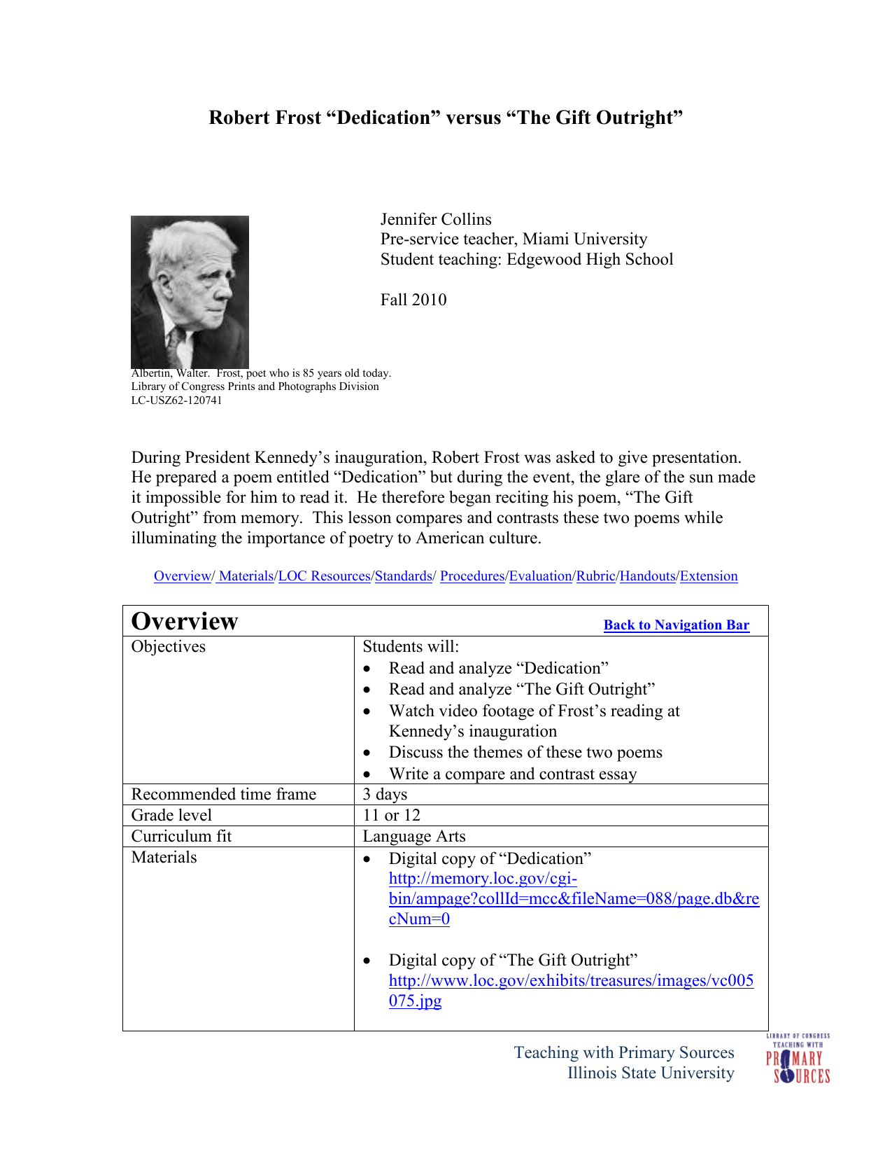 American Literature- Robert Frost Lesson Plan