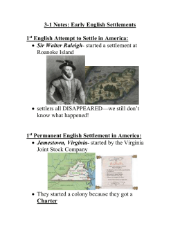 3-1 Notes: Early English Settlements