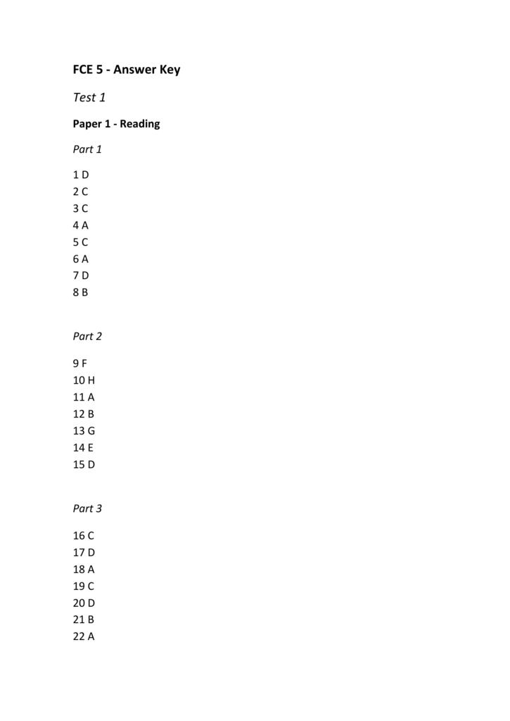 FCE 5 - Answer Key