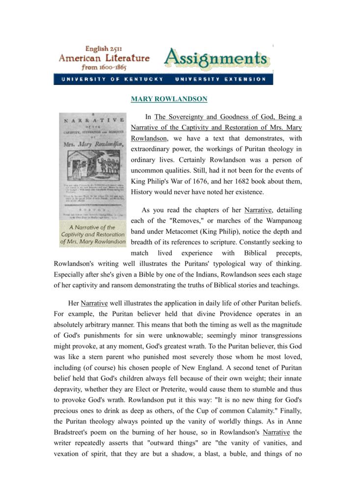 essays on mary rowlandson captivity narrative