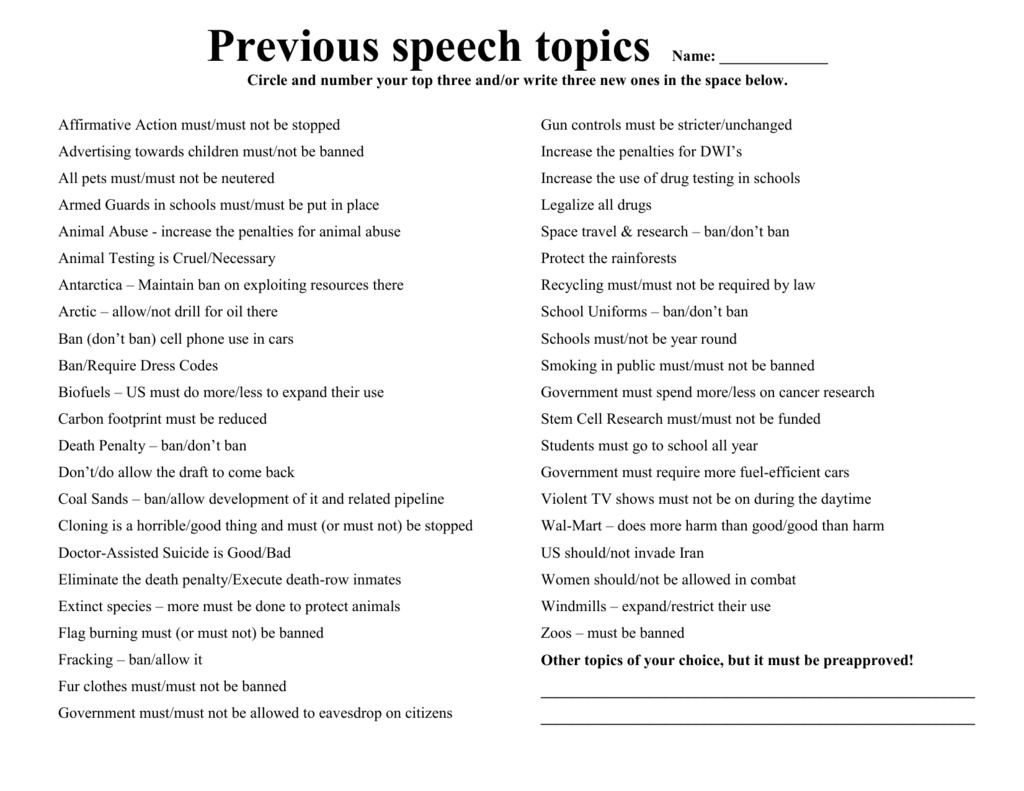 Good persuasive speeches