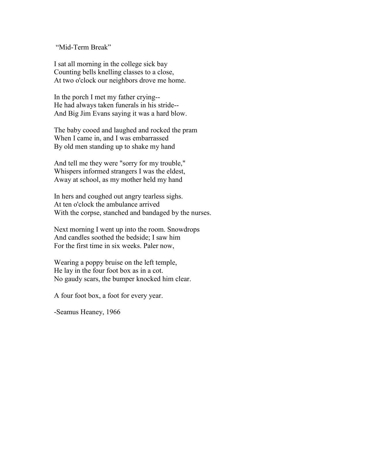 seamus heaney poem mother
