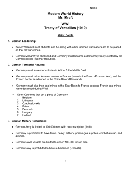 (WWI) - Treaty of Versailles
