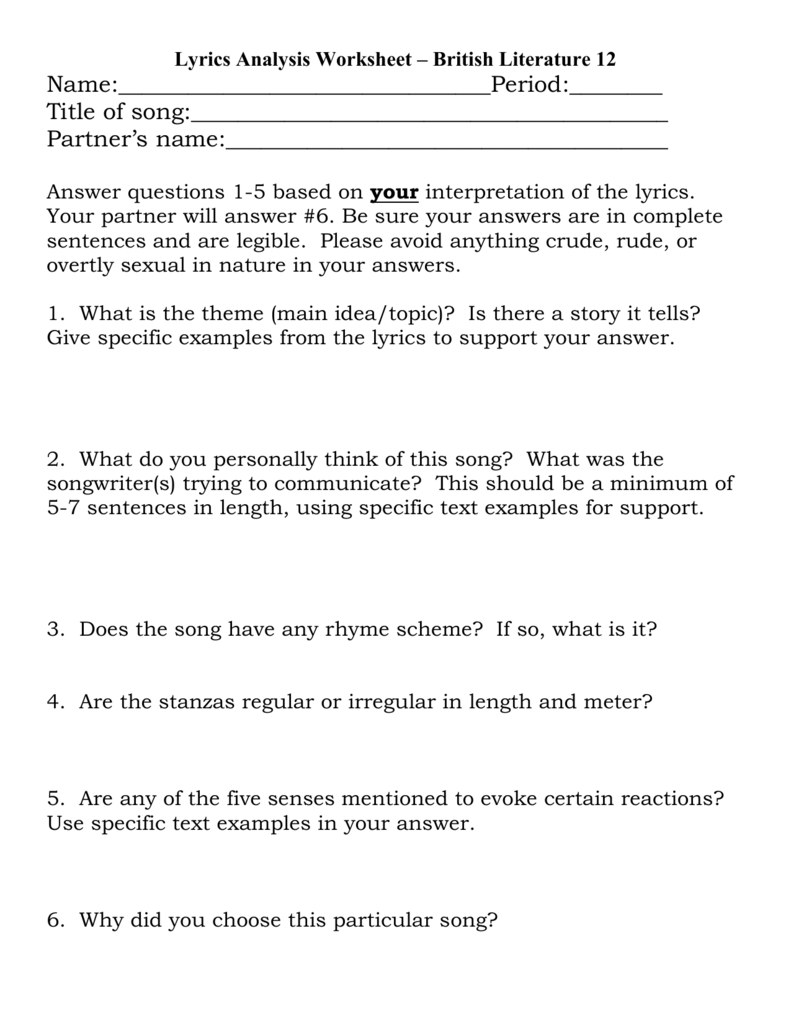 Worksheets Song Analysis Worksheet lyrics analysis worksheet