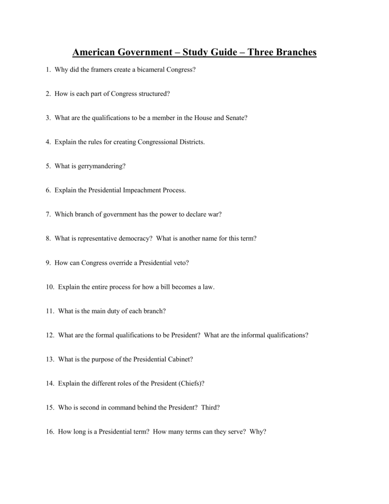 Worksheets Roles Of The President Worksheet worksheet roles of the president mytourvn american government study guide three branches 1 why did