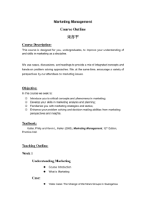 Marketing Management Course Outline 宋亦平 Course Description