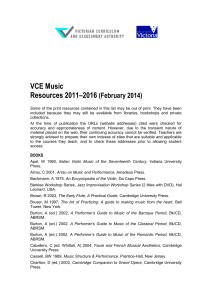 VCE Music Resources 2011-2016