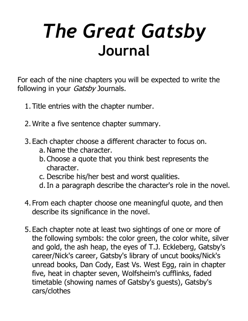 The Great Gatsby Journalc
