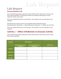 Lab Report Enzyme Kinetics Lab Answer the following questions