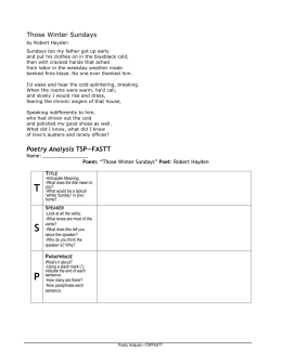 an analysis of robert haydens those winter sundays Poem summary first published in 1962, robert hayden's poem ''those winter sundays'' is a fourteen-line poem written in free verse, meaning that there is no particular rhyme pattern or rhythm in.