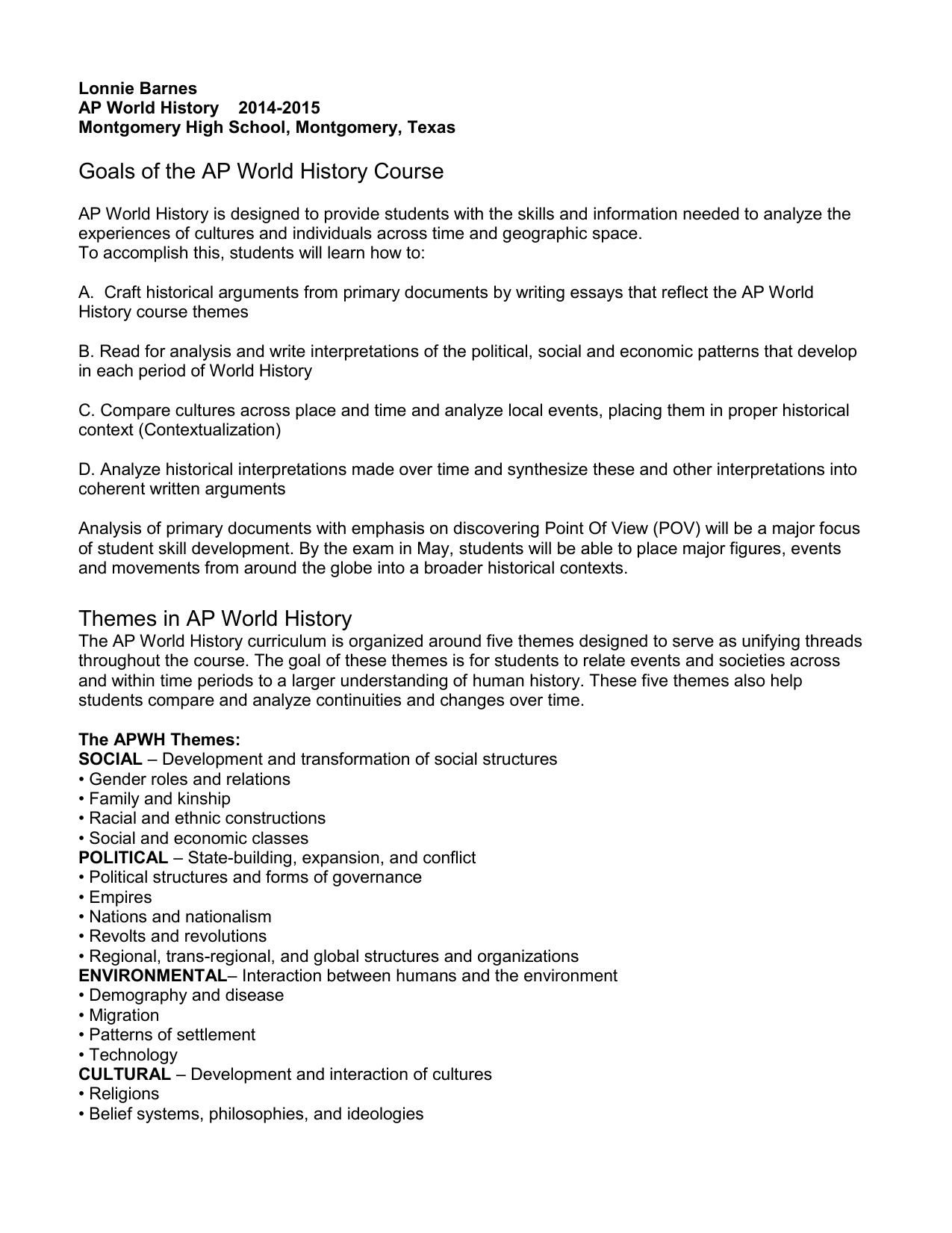 ap world history ccot essay 2010