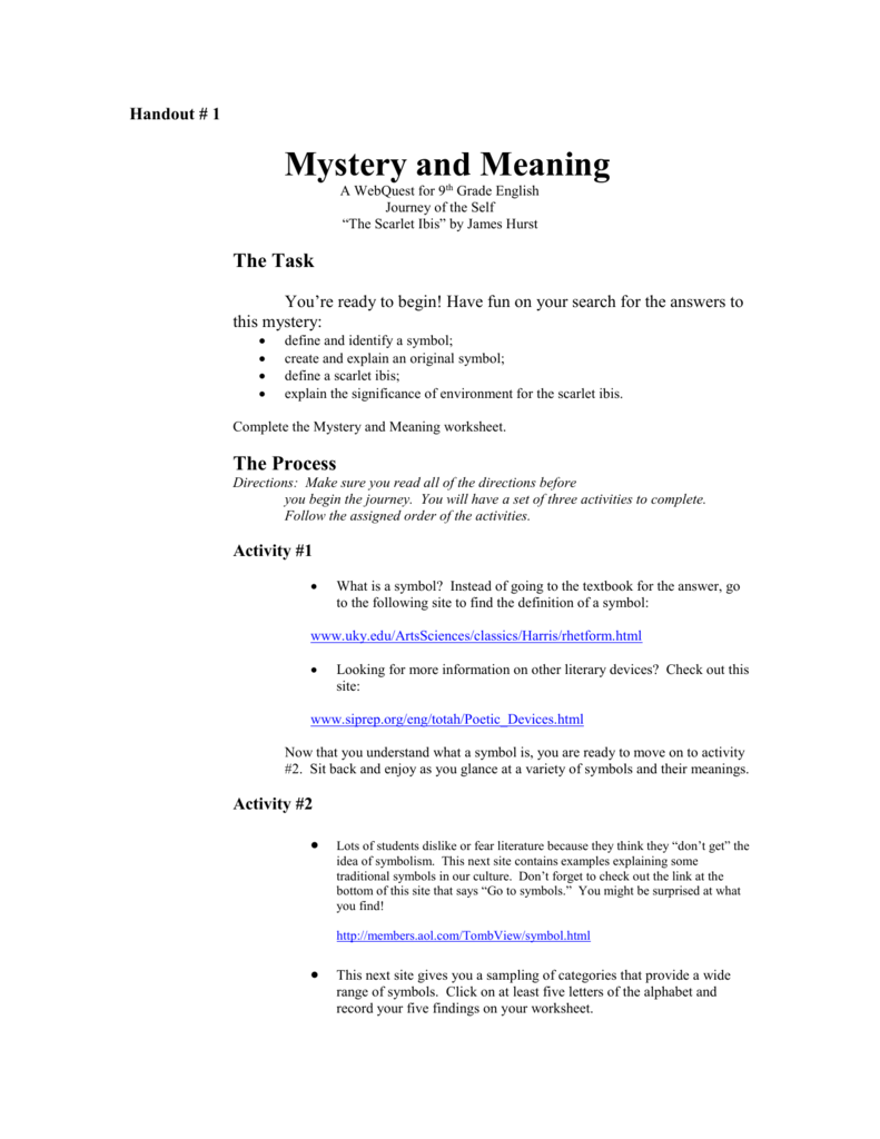 Handout 1 Mystery and Meaning Webquestdoc – The Scarlet Ibis Worksheet