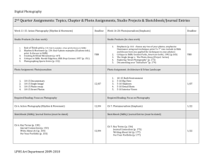 2nd Quarter Assignments: Topics, Chapter & Photo Assignments