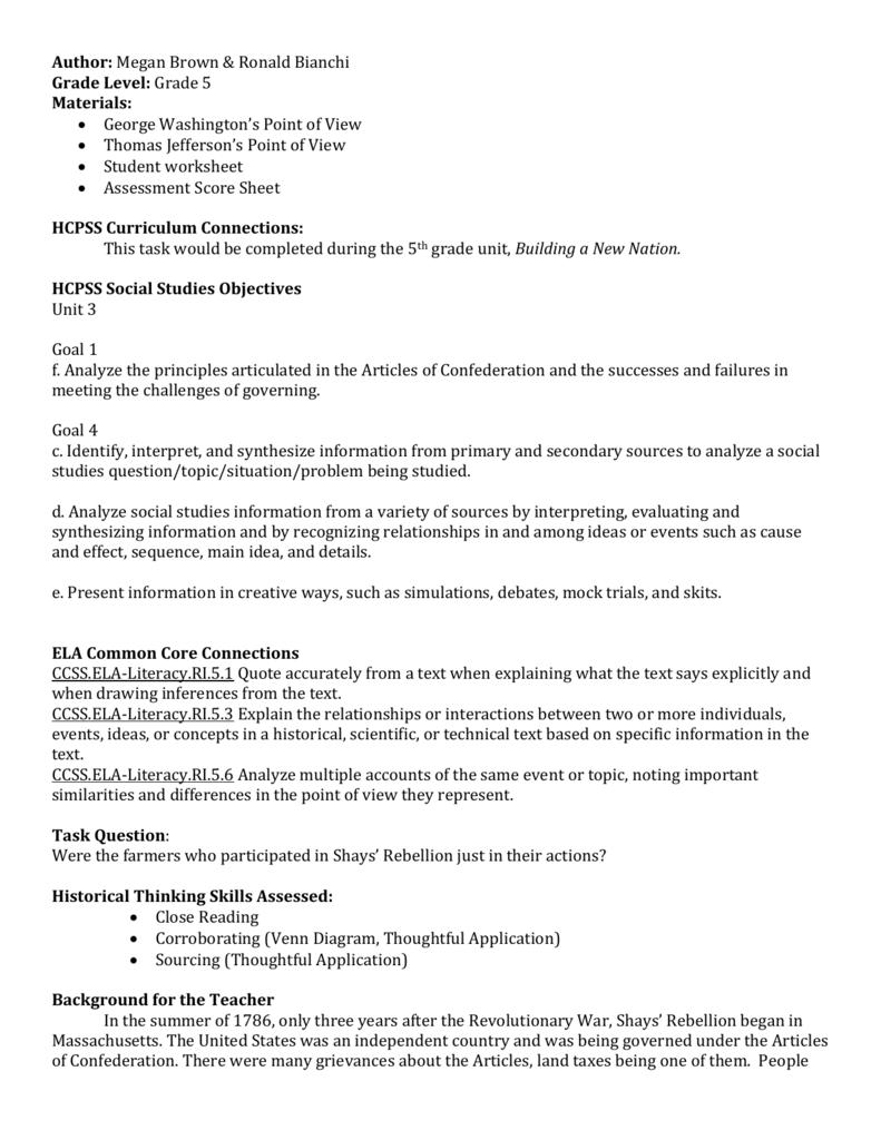 Shays Rebellion PAT Finaldoc historylabs – Shays Rebellion Worksheet