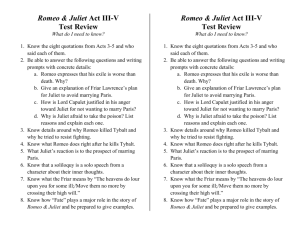 Romeo & Juliet Act III-V Test Review What do I need to know? Know
