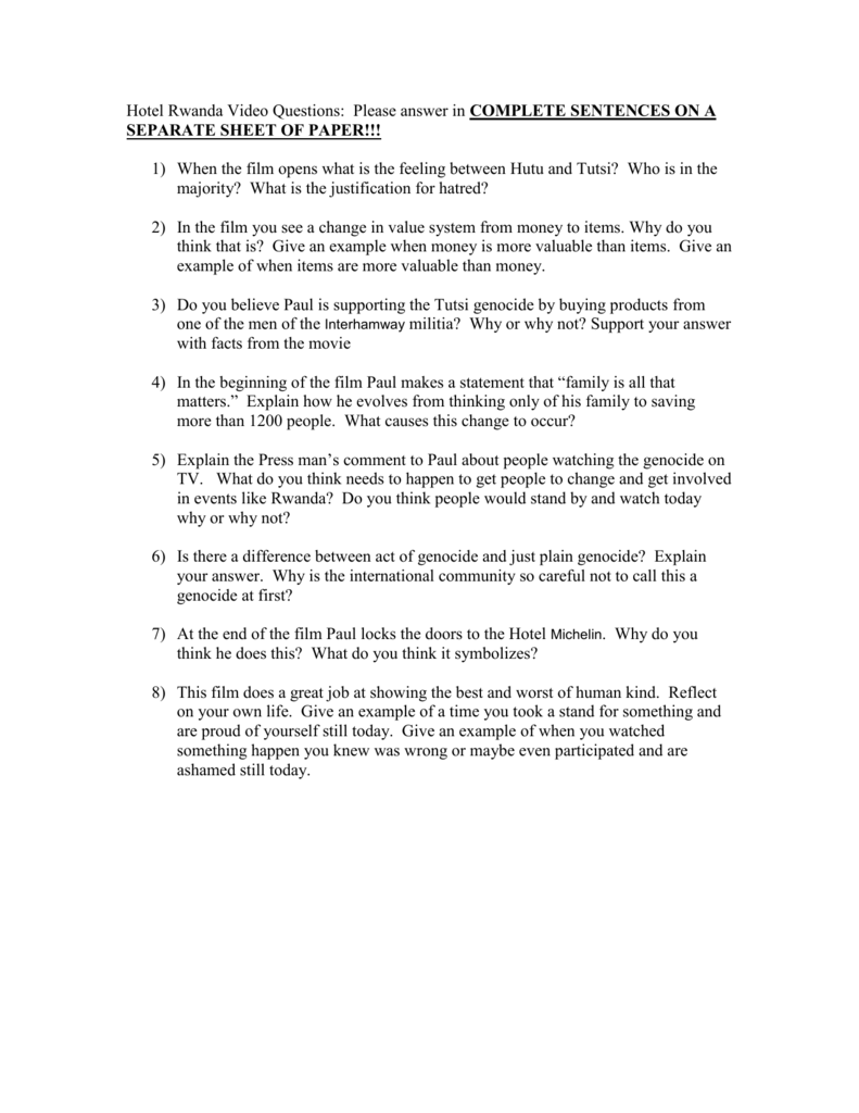 Worksheets Hotel Rwanda Worksheet hotel rwanda video questions please answer in complete