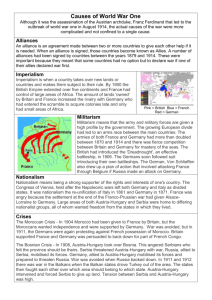 Causes of World War One - Beechen Cliff School Humanities Faculty
