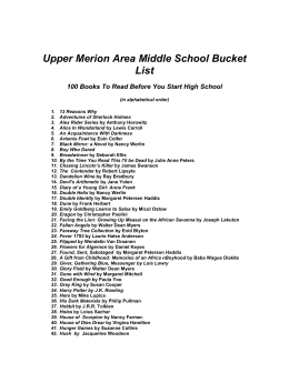 The Bucket List - Upper Merion Area School District