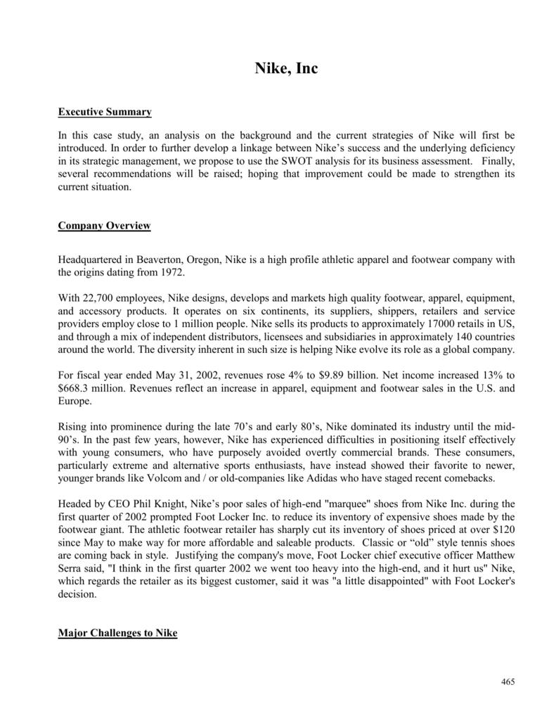 executive summary of nike company