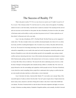 The Success of Reality TV - Donald Guy`s WIP Project