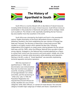 The History of Apartheid in South Africa