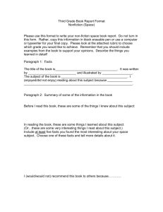 Third Grade Book Report Format