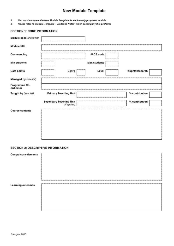 Jacs Template | Module Proforma