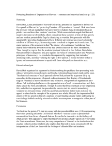Protecting freedom of expression at harvard p.123 summary and