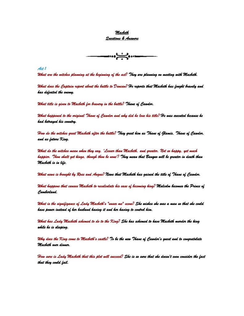 Macbeth study questions robcynllc Images