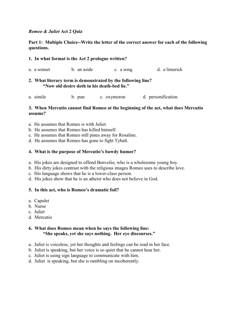 Romeo And Juliet Comprehension Questions Act 2