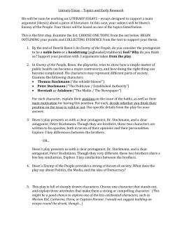 Hedda Gabler Essay Topics & Writing Assignments
