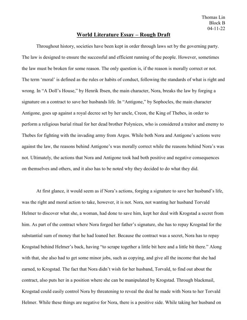 antigone essay free