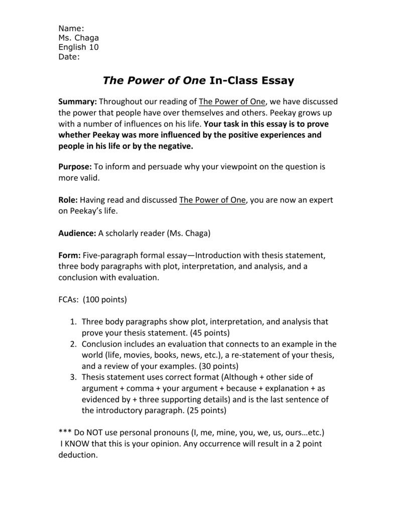Model English Essays  Environmental Science Essay also Essay For Science The Power Of One Inclass Essay Last Year Of High School Essay