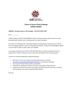 Culture of Donor Giving Challenge SAMPLE EMAILS VERSION 1