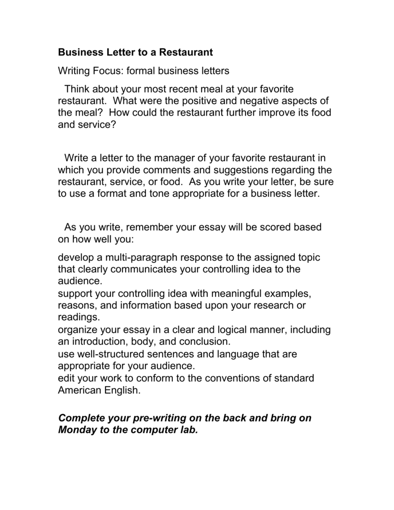 How To Write A Buisness Letter.Business Letter To A Restaurant