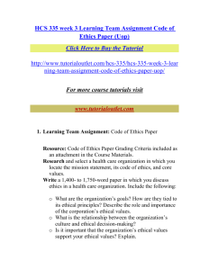 HCS 335 week 3 Learning Team Assignment Code of Ethics Paper