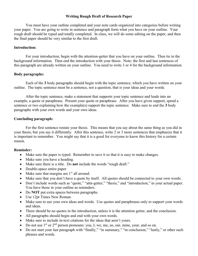 rough draft outline template - similarities of term paper and thesis