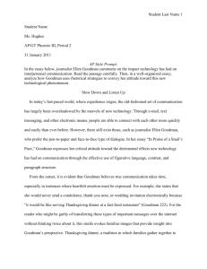 Thanksgiving by ellen goodman essay -