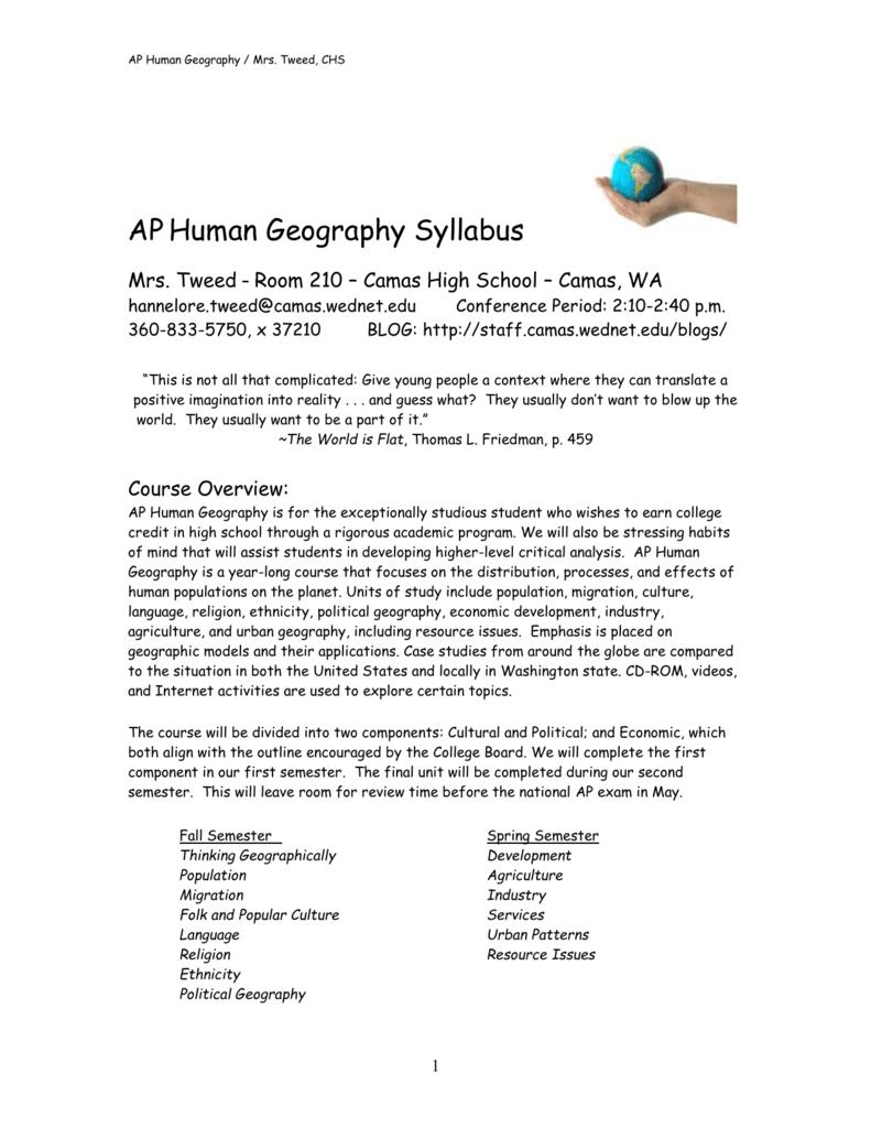 Workbooks ap human geography workbook : AP Human Geography Syllabus - Staff Portal Camas School District