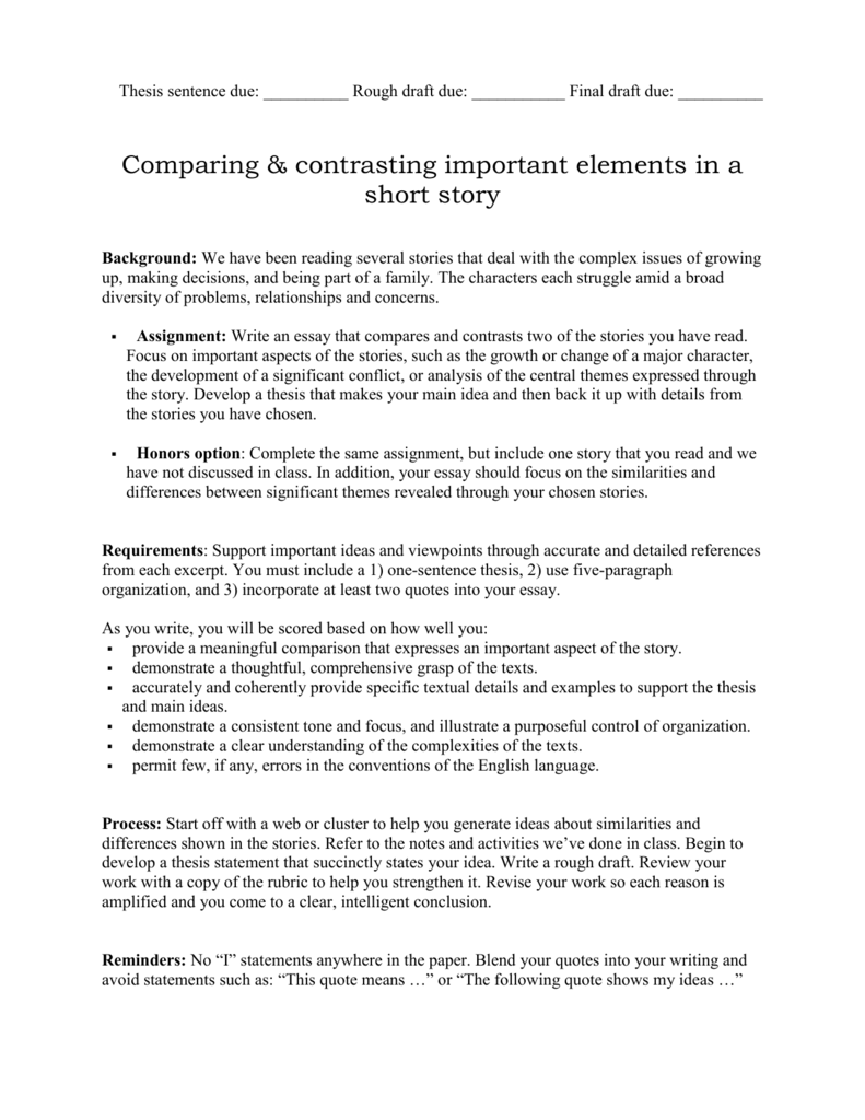 compare contrast essay doc bhs english honors option